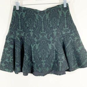 Zara Green Black Flocked Velvet Tapestry Skirt S